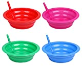 Cereal Bowl With Straw for Kids - Four Pack in