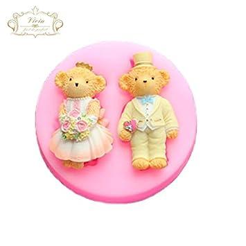 Teddy Bear - Oso de peluche de pareja alfombrilla de diseño de boda de molde de silicona para decoración de dulces Cupcakes decoración dulces: Amazon.es: ...