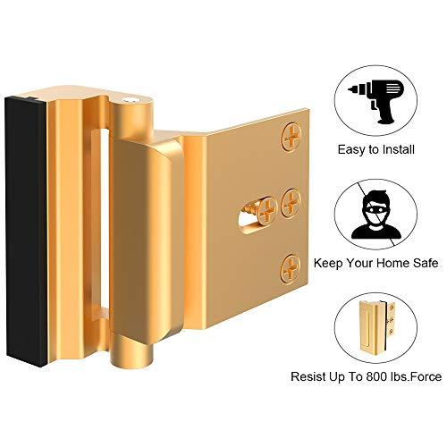 Home Security Door Lock, Childproof Door Reinforcement Lock with 3 Stop 4 Screws Withstand 800 lbs for Inward Swinging Door, Upgrade Night Lock to Defend Your Home (Gold-1 Pack)
