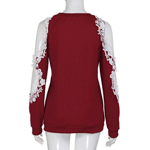 Chemisier Cher Epaule Tops Femme Femme Manches Vetement Blouse Rouge Oyedens Femme Longues hors Soiree Blouse Casual Dentelle Shirt Pas Fille Chic Femmes Chemise Femme Pull Femme x1EwqCB