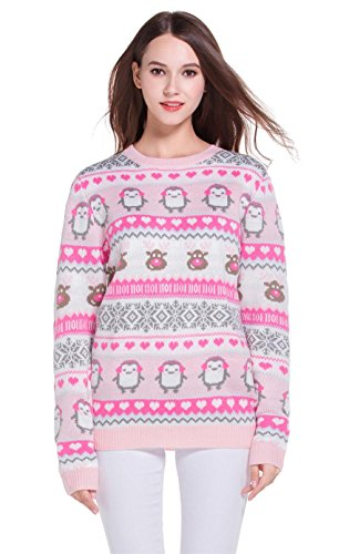 Women's Christmas Cute Reindeer Snowflakes Knitted Sweater Girl Pullover (Large, (Cute Ugly Sweater)