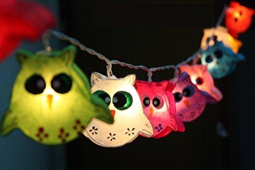 Night Lights Owl Lamp Hanging Lights for Childern Bedroom Decoration 20 Lights/set (Lantern Owl)