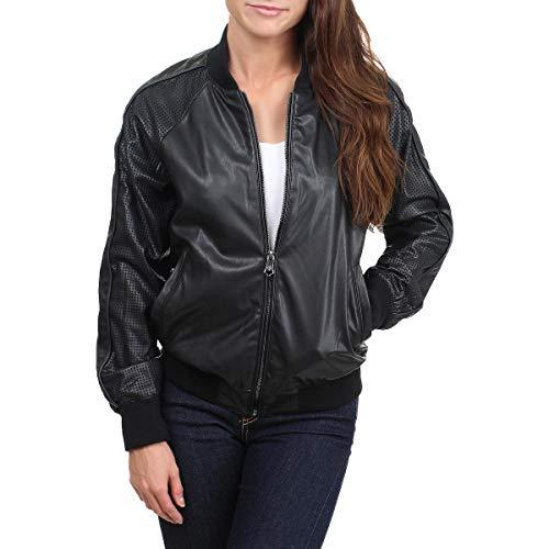 Nanette Lepore Womens Faux Leather Fashion Bomber Jacket Black S
