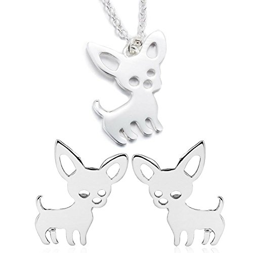 Chihuahua Gifts: Dog Earrings and Necklace Set Packaged in Gift Pouch Cute Earrings for Girls (Silver Bundle)