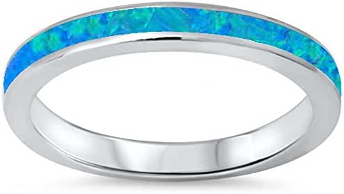 Lab Created Blue Opal Band .925 Sterling Silver Ring sizes 4-12