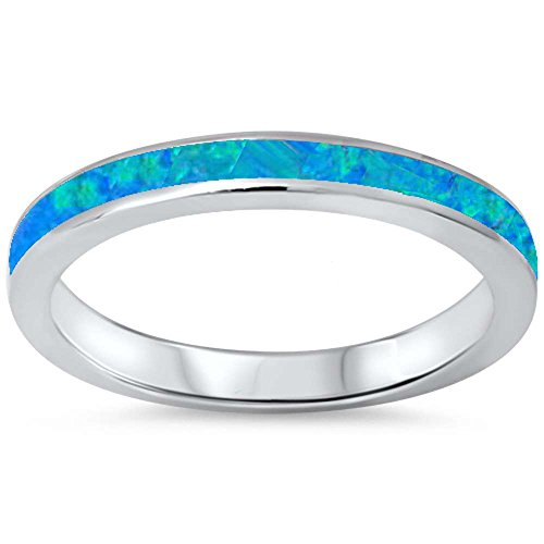 Blue Ring Opal Lab (Lab Created Blue Opal Band .925 Sterling Silver Ring sizes 8)