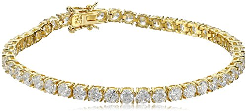 18K Yellow Gold Plated Silver Round Cut 6mm Cubic Zirconia Tennis Bracelet, (Yellow Gold Cubic Zirconia Bracelet)