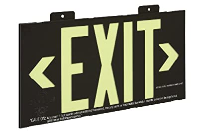 Glo Brite 7001 8.25-by-15.25-Inch Single Face Wall Mount Non Electrical, Glow-in-the-dark (Photoluminescent) Eco Exit Sign, Black