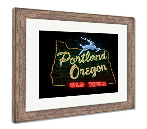 (Ashley Framed Prints Historic Portland Oregon Old Town Sign, Wall Art Home Decoration, Color, 30x35 (Frame Size), Rustic Barn Wood Frame, AG5626243 )