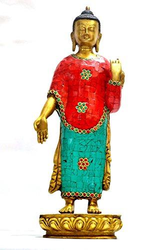 15'' Tibet Big Buddha Statue, Tibetan Thai Chinese Turquoise Brass Buddhism Buddhist ... by CraftVatika