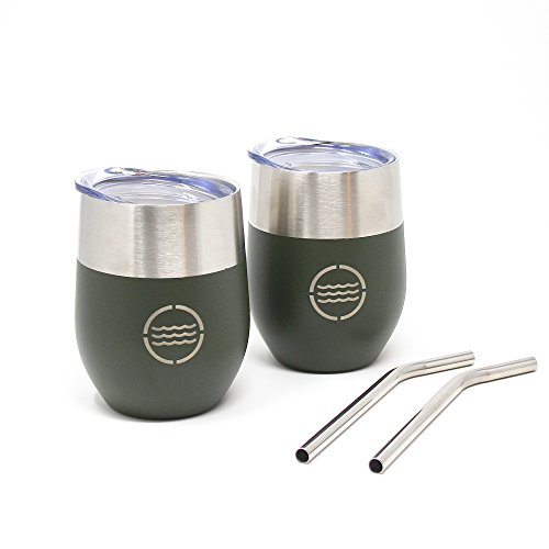 VistosoHome 2-Pack Stainless Steel Camping Mug with Lid & Stainless Steel Straw (Forest Green) - 12oz Wine Glass Tumbler Cups for Wine, Beer, Cocktails, Soda - Double Wall 304 Steel & Spill Proof by VistosoHome