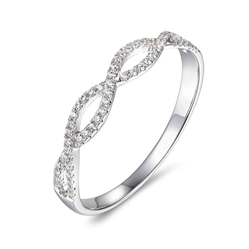 (Lamrowfay 14k Solid Gold Cubic Zirconia CZ Swril Simulated Diamond Wedding Band Stackable Twisted Anniversary Ring (White-Gold, 4))
