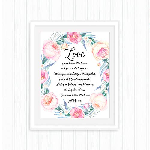 Arvier Love Grows Best in Little Houses Printable Quote Floral Wreath Home Dcor Floral Wall Art Housewarming Wedding Gift New Home Gift Framed Wall Art (Love Grows Best In Little Houses Printable)