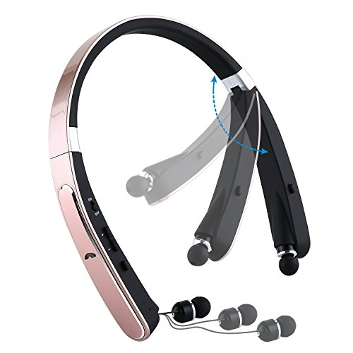 Meesport Foldable Bluetooth Headset, Wireless Bluetooth Neckband Headphones with Build-in Mic, Bluetooth 4.1 Stereo Earphones with Retractable Earbuds for iPhone, Sumsung,Sony, Huawei and More