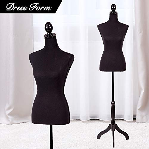"""MannequinTorso Manikin Body Dress Form with Wooden Tripod Stand 60""""-67"""" Height Adjustable Female Clothing Form Pinnable Mannequin Jewelry Display, Black"""