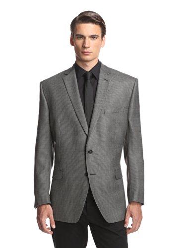 Calvin Klein Mens Silk Blend Slim Fit Two-Button Suit Jacket B/W 38R (Jacket Textured Silk)
