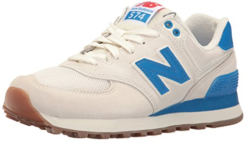 New Balance Women's 574 Retro Sport Pack Lifestyle Fashion Sneaker, Sea Salt/Electric Blue, 5 B US For Sale