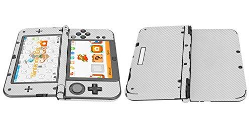 Skinomi® TechSkin - New Nintendo 3DS XL Screen Protector (2015) + Silver Carbon Fiber Full Body Skin w/ / Front & Back Film / Ultra HD & Anti-Bubble Shield (Nintendo 3DS LL Version)