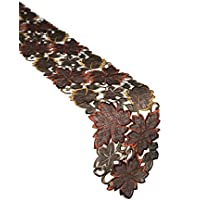 Xia Home Fashions Dainty Leaf Embroidered Cutwork Harvest Mini Fall Runner, 8 by 62-Inch