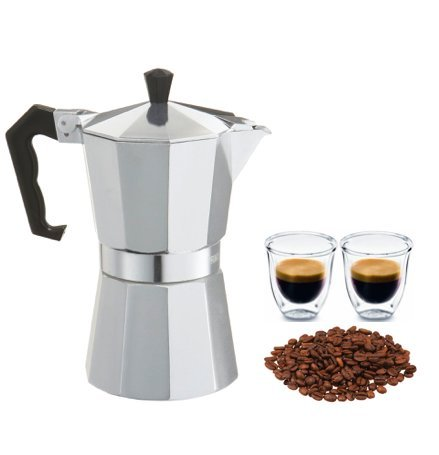 Aluminum Drip Coffee Maker - Euro-Home - CaffeXspress 6 Cup Aluminum Espresso Coffee Maker - Barista quality espresso maker.