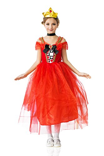 Girls' Sweet Heart Princess Wonderland Queen of Hearts Royal Dress Up & Role Play Halloween Costume (8-11 years)