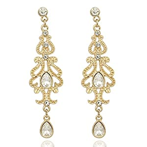 Gold Plated Q&Q Fashion Art Deco 20s 30s Flapper Gatsby Austria Crystal Bridal Silver Dangle Earrings
