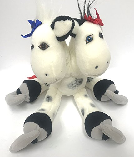 (Vintage 1987 Up In The Air Two 2 Headed Jersey Cow on Skates Plush Doll 13