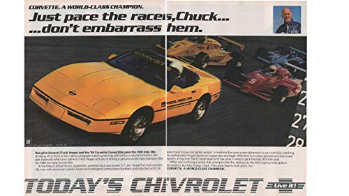 - Magazine Print Ad: Yellow 1986 Chevy Corvette, Official Indy 500 Pace Car,