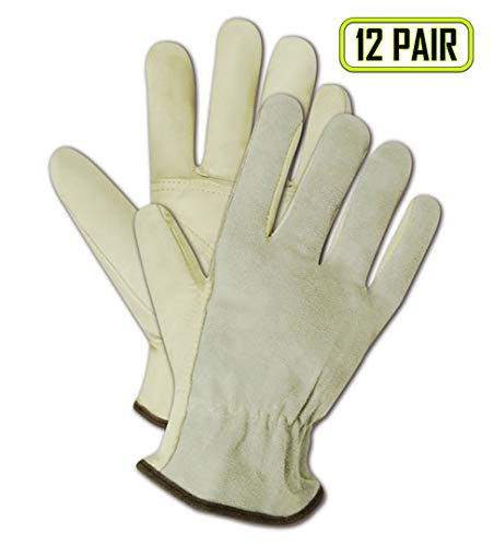 Magid Safety Roadmaster B6544E Glove | Unlined Grain Leather Driver Glove with Keystone Thumb - Economical Grade, Gunn Cut Pattern, Large, Tan (12 Pairs)