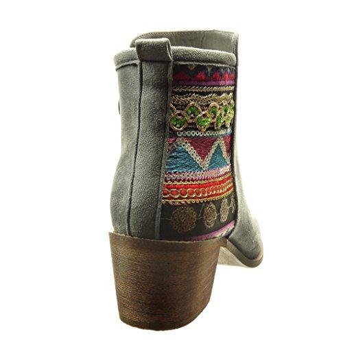 Angkorly - Zapatillas de Moda Botines cavalier mujer acabado costura pespunte flashy Talón Tacón ancho alto 5.5 CM - Gris