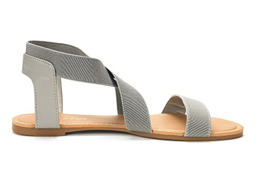 DREAM PAIRS Womens ELATICA Elastic Ankle Strap Flat Sandals Grey FvtJcJs