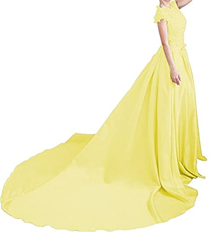 LiCheng Bridal Lace Top Keyhole Open Back Satin Prom Dress With Sweep Scoop Full Length Party Ball Gowns Yellow - Full Sweep Gown