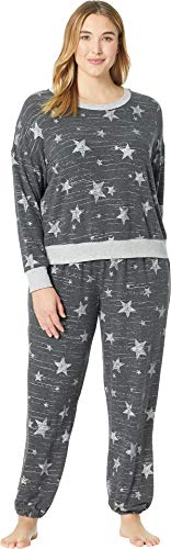 Splendid Women's Plus Size Long Sleeve Sweater Top and Relaxed Jogger Pajama Set Pj, Grey with Glitter Star Spring 3X ()