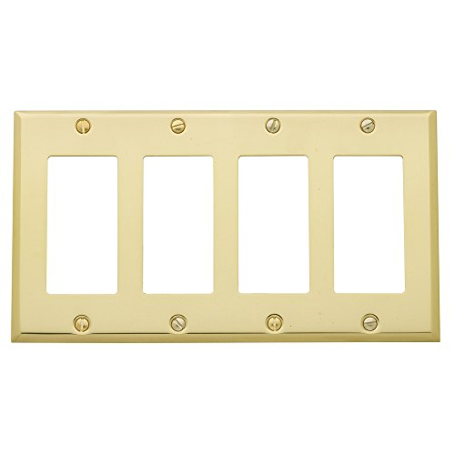 "Baldwin Estate 4742.030.CD Square Beveled Edge Quad GFCI Wall Plate in Polished Brass, 4.5"" x 8.12"""