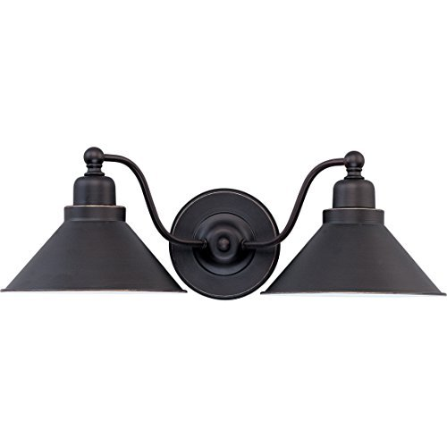 Dysmio - Two Lights Wall Sconce in Mission Dust Bronze and Metal Shade - Two Bulb Wall Fixture