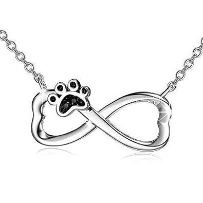 be882ebb379f Plata de Ley 925 perro cachorro Paw infinito colgante collar con cadena de  18  quot