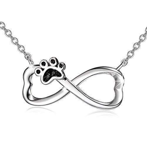 bda43aad2e Collana collana gioielli in argento 925 sterling Silver pendenti Puppy Dog  Paw infinity ciondolo collana con catena 18 pollici: Amazon.it: Gioielli