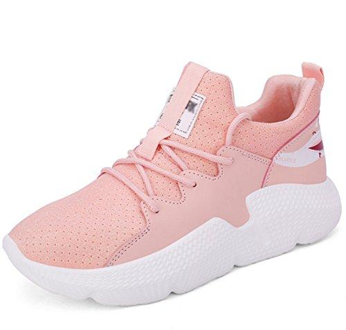 XIE Zapatillas de Vuelo Zapatos de Mujer Fondo Plano Zapatos de Malla Casuales Zapatillas de Running 35-39, Pink, 35 Pink
