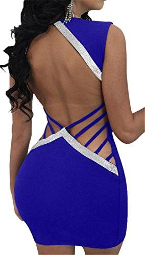 Blu Club Gioielli Collo Vestito Del Aderente Maniche Womens Senza Fuori V Backless Tagliato Cromoncent BqxZ47