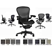 Herman Miller Aeron Task Chair: Highly Adjustable - Black Vinyl Adjustable Arms - Hard Floor Casters - Carbon...