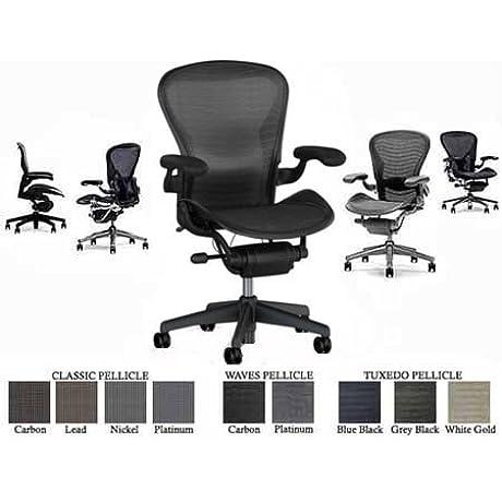 Herman Miller Classic Aeron Task Chair Highly Adjustable W PostureFit Lumbar Support Forward Tilt Fully Adjustable Leather Arms Deep Carpet Casters