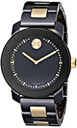 """Movado Women's 3600172 """"Bold"""" Two-Tone Stainless Steel Watch with Black and Gold-Tone Link Bracelet"""