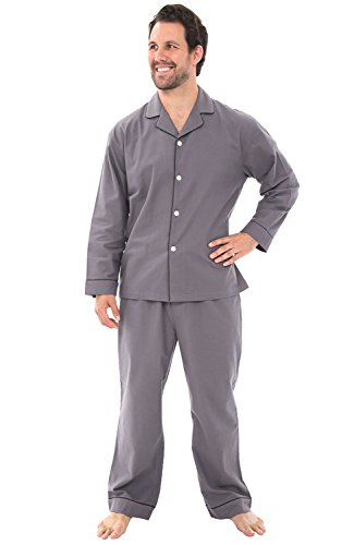 Alexander Del Rossa Men's Lightweight Flannel Pajamas, Long Cotton Pj Set, Medium Steel Grey (A0544STLMD) (Quality Sets Good Bedroom)