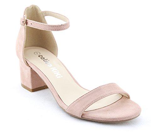 CALICO KIKI ELISHA-CK01 Women's Buckle Ankle Strap Low Block Heel Open Toe Heeled Sandals (10 US, Blush)