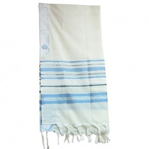 New Covenant Messianic Tallit Prayer Shawl 72'' 22'' by Bethlehem Gifts TM (Light Blue)