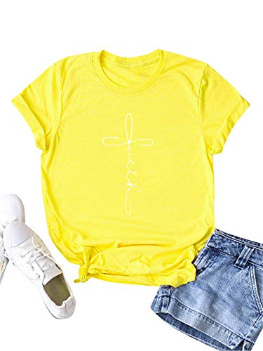 Festnight Womens Faith Letter Print T Shirts Casual Short Sleeve Graphic Tees Summer Cotton Tops Yellow