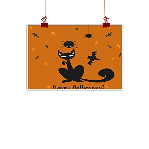 duommhome Light Luxury American Oil Painting Halloween Holiday Card with cat and Hanging Spider on a Web Light Luxury American Oil Painting 35