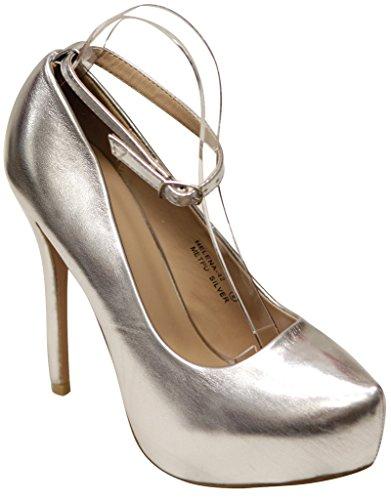 Bella Marie Helena-42 Womens pointy toe platform stiletto ankle strap patent pumps Silver 1sdD4K2mS