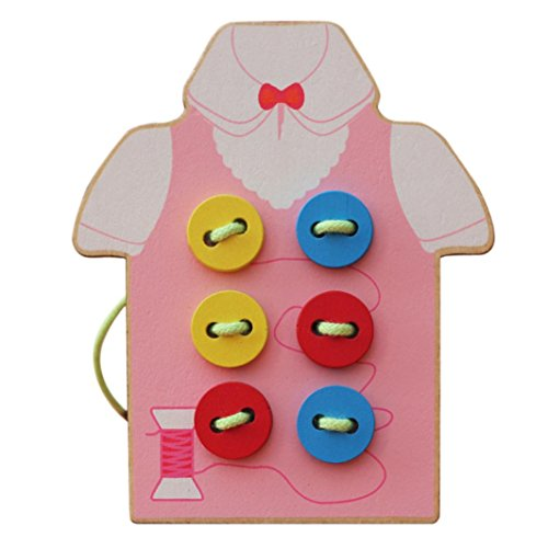 Gloss Pouch Foam Boards (FINERINE Children Beads Lacing Board Wooden Toys Toddler Sew On Buttons (Pink))