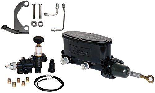 (NEW WILWOOD BLACK ALUMINUM TANDEM CHAMBER MASTER CYLINDER WITH ADJUSTABLE COMBINATION PROPORTIONING VALVE, MOUNTING BRACKET, AND LINES FOR 64-73 FORD MUSTANG, DUAL OUTLET CYLINDER, 1964, 1965, 1966)